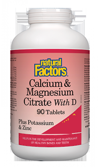 Natural Factors Calcium & Magnesium Plus D ,Potassium & Zinc, 90 Tab