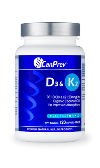 Canprev Vitamin D3 & K2, 120 Softgels