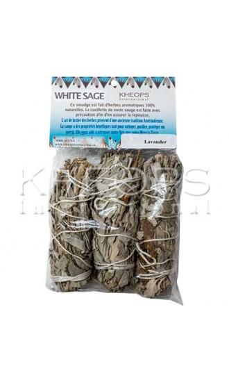 """Kheops International White Sage and Lavender Smudging Sticks, 4"""" 3 Pack"""